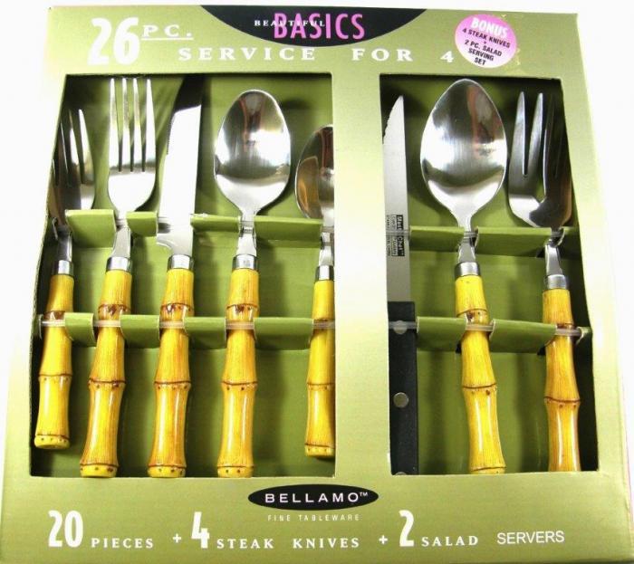 26 Piece Flatware Set with Hard Plastic Handles, Bamboo Look