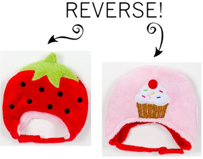 Luvali Convertibles Strawberry/Cupcake Reversible Kid's Winter Hat, Small