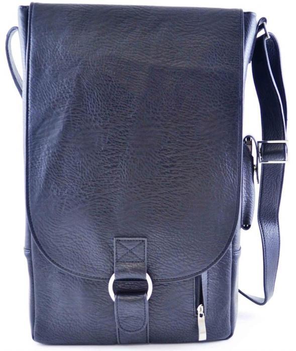 Primeware Vino2 Black Faux Leather Messenger Bag Style Two Bottle Wine Tote
