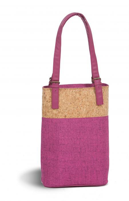 Picnic Plus Luxe Double Wine Bag - Cork/Fuchsia