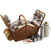Picnic at Ascot Huntsman Basket for 4 with Coffee Set & Blanket - London Plaid