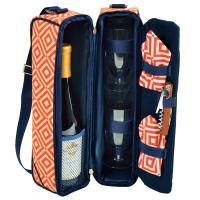Picnic at Ascot - Deluxe Insulated Wine Tote with 2 Wine Glasses, Napkins and Corkscrew - Orange/Navy