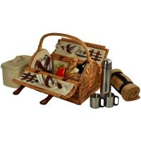 Picnic at Ascot Sussex Picnic Basket for 2 w/Blanket & Coffee, Santa Cruz Stripe