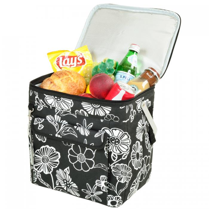 Picnic at Ascot 6 Bottle Insulated Wine Tote- Collapsible Multi Purpose Cooler - Night Bloom