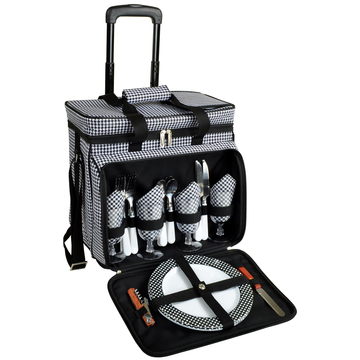 Picnic At Ascot Picnic Cooler W Wheels For Four Houndstooth