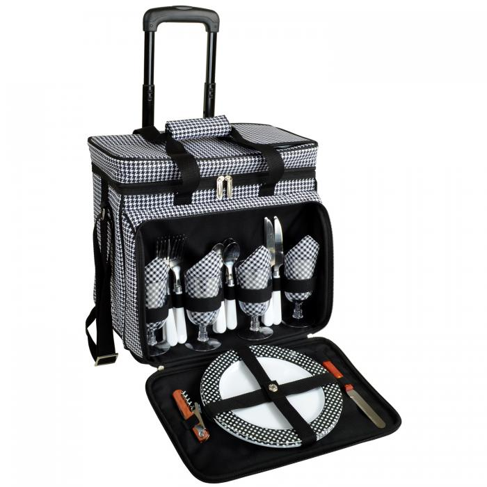 Picnic at Ascot Equipped Picnic Cooler with Service for 4 on Wheels - Houndstooth