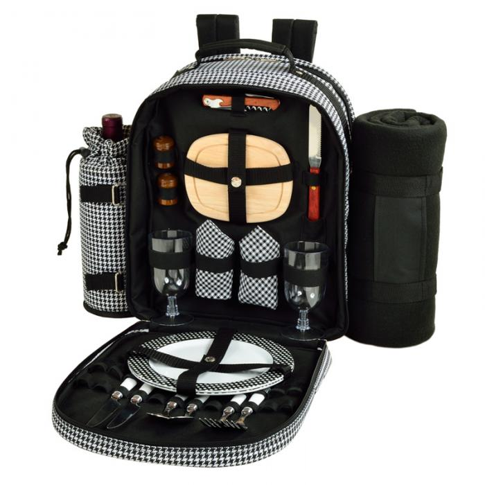 Picnic at Ascot Deluxe Equipped 2 Person Picnic Backpack with Cooler, Insulated Wine Holder & Blanket - Houndstooth