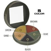 Camcon Camouflage Cream Compact, 5 Color,Blk/Brown/Olive/Green/Sand