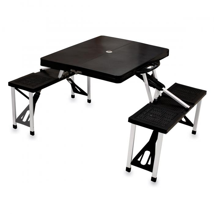 Picnic Time Picnic Table, Portable w/ 4 Seats, Black