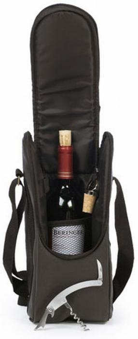 Picnic Plus Single Bottle Wine Carrier - Black