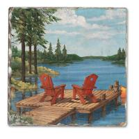 Counter Art Lakeside Dock Single Tumbled Tile Coaster