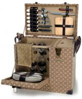 Picnic & Beyond Estate Enhanced Luxury Wooden Picnic Chest for Four