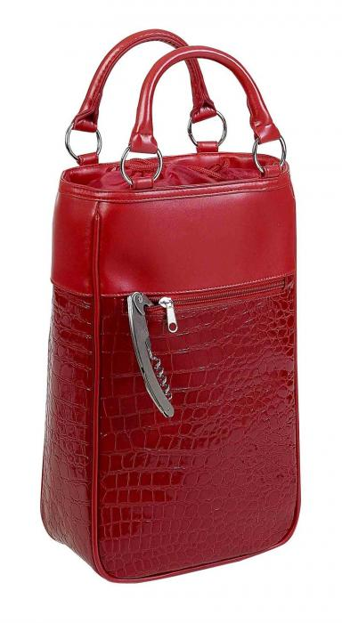 Primeware Harmony Insulated Two Bottle Wine Tote -  Red Croc
