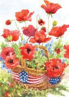 Toland Patriotic Poppies Garden Flag