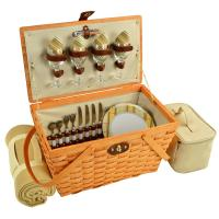 Picnic at Ascot Settler Traditional American Style Picnic Basket for 4 w/Blanket - Hamptons