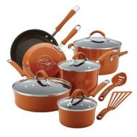 Rachael Ray 12-Pc Cucina Porcelain Aluminum Cookware Set (Pumpkin Orange)