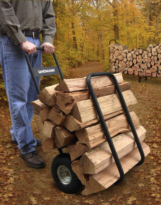 Landmann Black Firewood Caddy with Black Cover