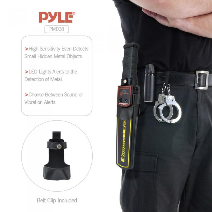 Pyle Secure Scan Handheld Metal Detector Wand Security Scanner with Adjustable Sensitivity (PMD38)