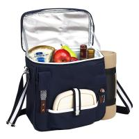 Picnic at Ascot Wine and Cheese Picnic Basket/Cooler with Accessories and Fleece Blanket Navy