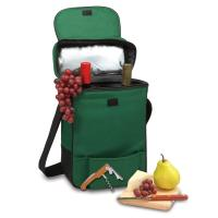 Picnic Time Duet 2 Bottle Wine & Cheese Tote w/ Accessories for 2, Green