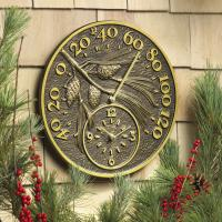 Whitehall Pinecone Thermometer Clock - French Bronze