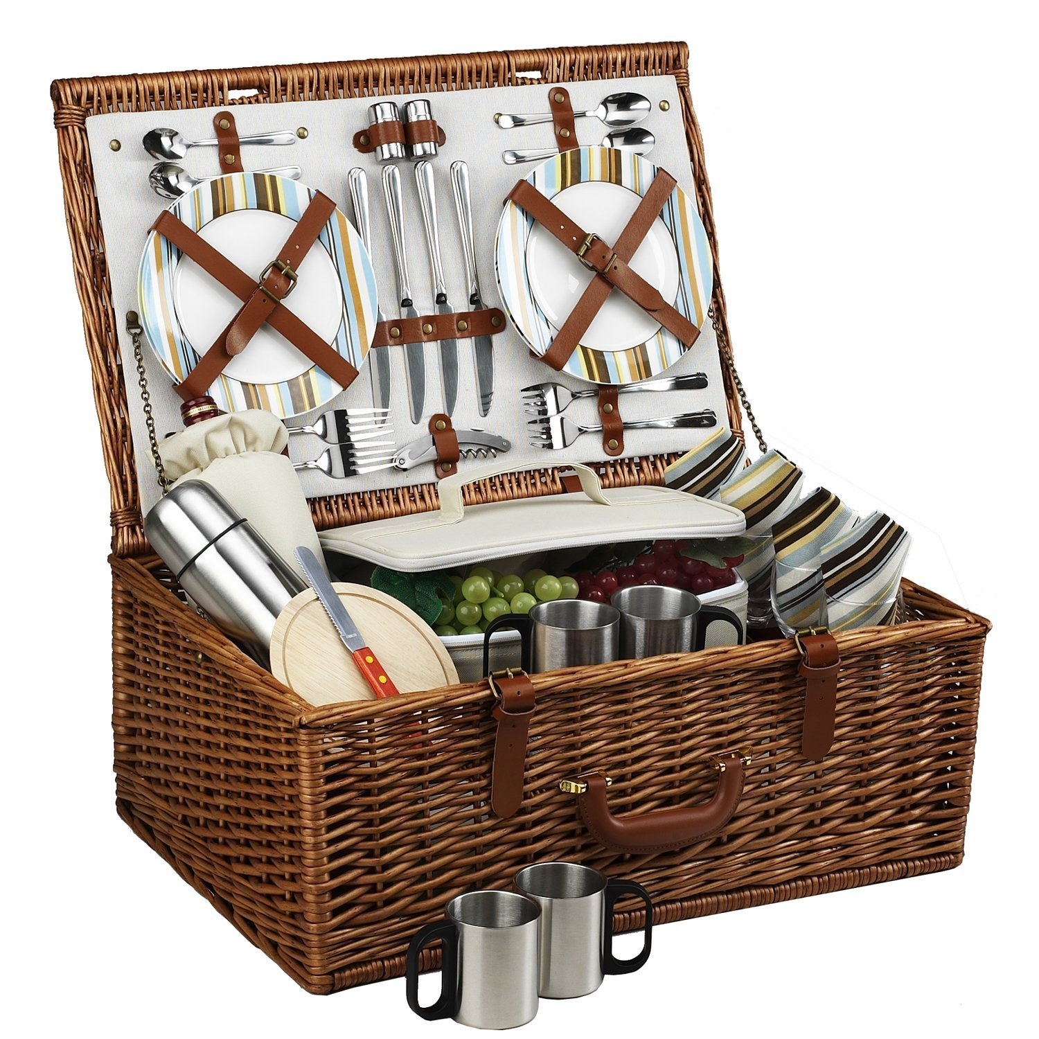 at Ascot Dorset English-Style Willow Picnic Basket with Service ...
