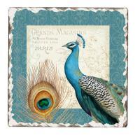Counter Art Majestic Beauty Peacock Tumbled Tile Coasters Set of 4