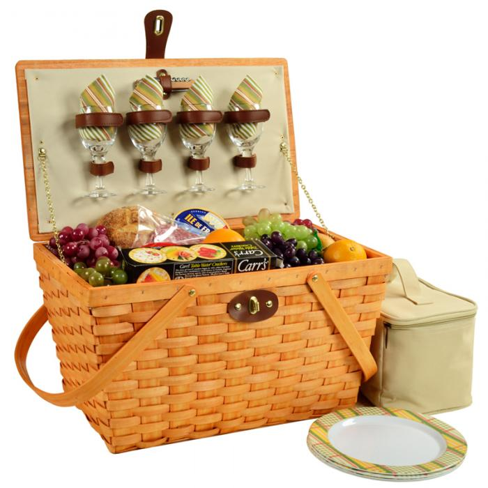 Picnic at Ascot Settler Traditional American Style Picnic Basket with Service for 4 - Hamptons