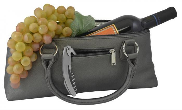 Primeware 3028-SG Wine Clutch - Steel Gray Birmingham Insulated Single Bottle Wine Tote