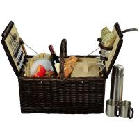 Picnic at Ascot Surrey Picnic Basket for 2 w/Coffee, Brown Wicker/Hamptons