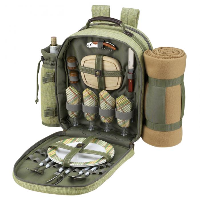 Picnic at Ascot Deluxe Equipped 4 Person Picnic Backpack with Cooler, Insulated Wine Holder & Blanket - Olive Tweed