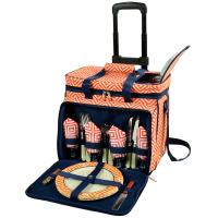 Picnic at Ascot Equipped Picnic Cooler with Service for 4 on Wheels - Orange/Navy