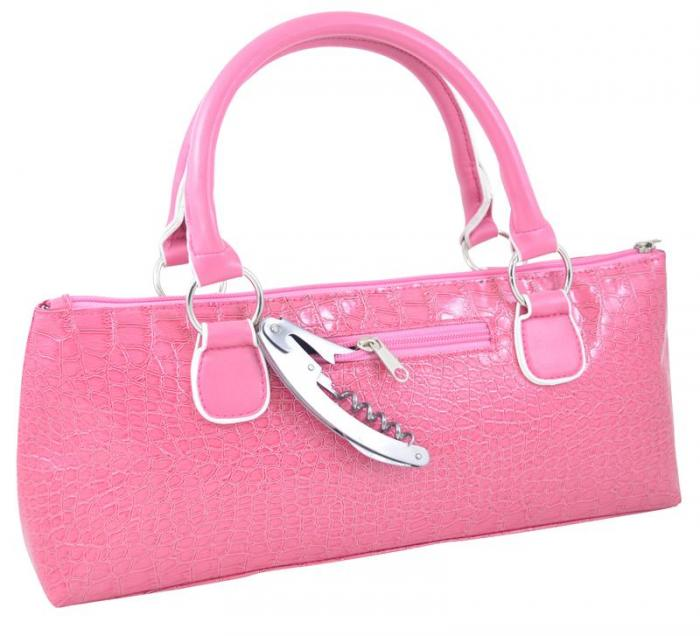 Primeware Wine Clutch - Pink Croc