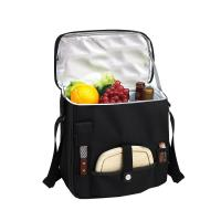 Picnic at Ascot Wine and Cheese Picnic Basket/Cooler with hardwood cutting Board, Cheese Knife and Corkscrew - Black