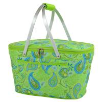 Picnic at Ascot Paisley Collection Collapsible Cooler Basket, Paisley Green