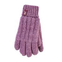Grabber Heat Holders Ladies Knit Gloves-Rose-Large/Xlarge
