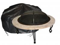 Fire Sense Outdoor Round Fire Pit Vinyl Cover w/ Felt Lining & Fabric Ties