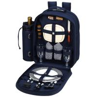 Picnic at Ascot Deluxe Equipped 2 Person Picnic Backpack with Cooler & Insulated Wine Holder - Navy