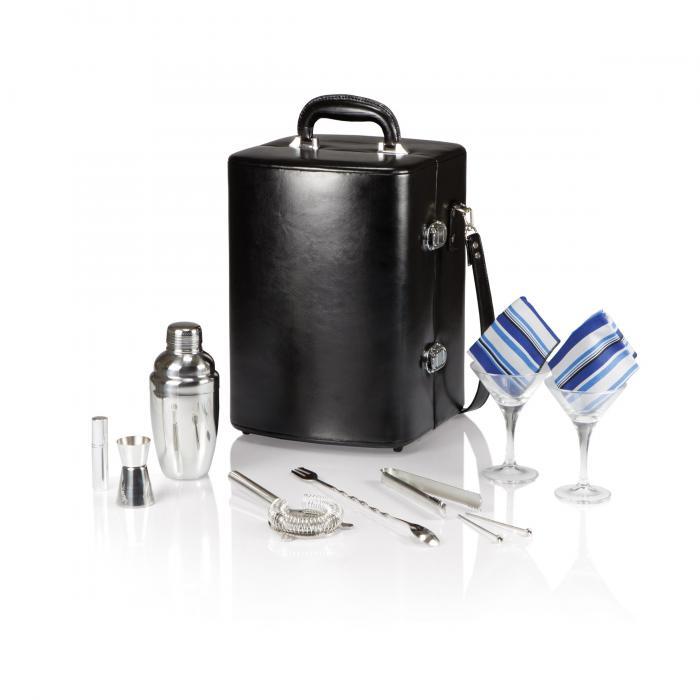 Picnic Time Manhattan Portable Cocktail Case w/Adjustable Shoulder Strap, Black