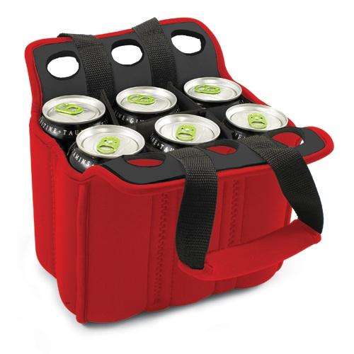 Picnic Time Insulated Six Pack Bottle/Can Holder, Red