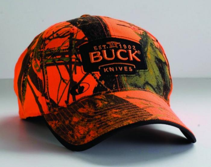 BUCK Mossy Oak Blaze Orange Camo Buck Logo Cap