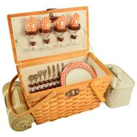 Picnic at Ascot Settler Traditional American Style Picnic Basket for 4 w/Blanket - Diamond Orange
