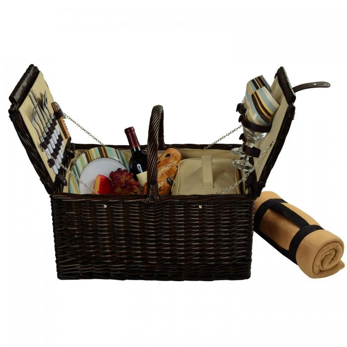 Picnic at Ascot Surrey Picnic Basket for 2 w/Blanket, Brown Wicker/Santa Cruz Stripe