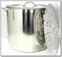 100 Quart Stainless Steel Stock Pot with Rack and Lid