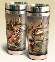 American Expeditions Deer Collage Steel Travel Mug 16 oz