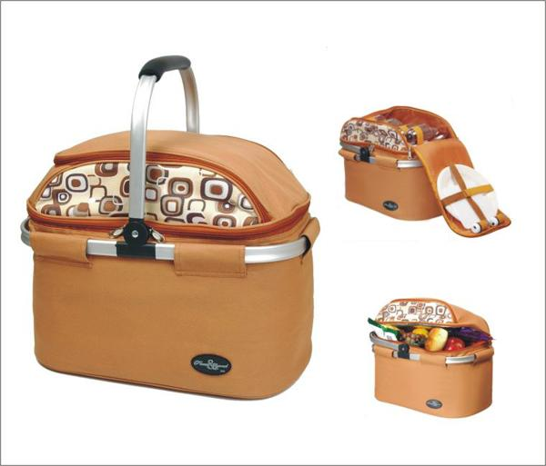 Picnic & Beyond  Aluminum Framed Brown Picnic Cooler Basket for 4
