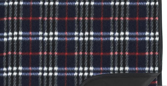 """Picnic at Ascot Outdoor Picnic Blanket with Waterproof Backing  58"""" x 53"""". Navy Plaid"""