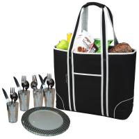 Picnic at Ascot Extra Large Insulated Picnic Bag Equipped for 4 - Black