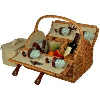 Picnic at Ascot Yorkshire Willow Picnic Basket with Service for 4 - Gazebo