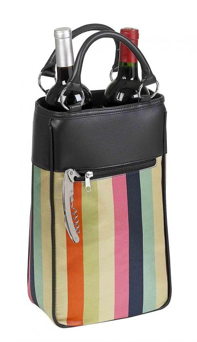 Primeware Harmony Insulated Two Bottle Wine Tote -  Stripe Sassy